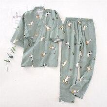 2 uds amante japonés ropa conjunto estampado Kawaii Kimono Yukata de algodón caliente pijamas de ropa de hombre bata de mujer camisón