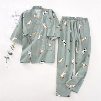 2PCS Japanese Lover Clothing Set Kawaii Printed Kimono Yukata Cotton Steaming Wear Pajamas Man Woman Bathrobe Nightgown