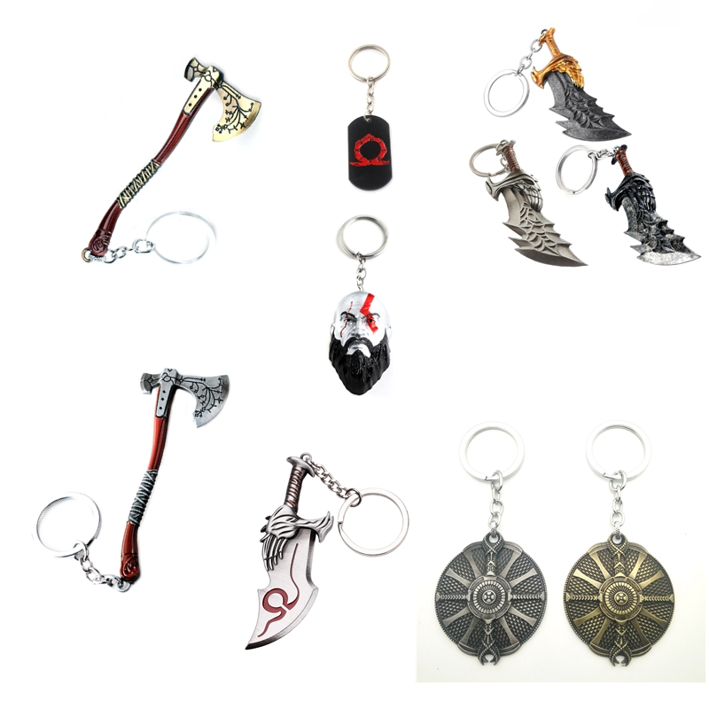 Game God Of War Keychain Toys Kratos Head And He Ghost Of Sparta Weapons The Blade Of Heroic Metal Keyring Pandent Game Fans Toy