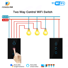 Interruptor de luz táctil inteligente eWeLink, enchufe de pared inalámbrico con WiFi, Control por voz, Alexa, Google Home, 1, 2 y 3 entradas
