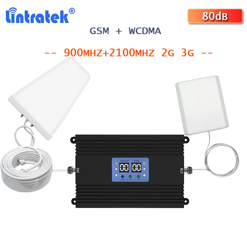 Lintratek 2G 3G Mobile Phone Signal Booster GSM 900mhz 2100mhz  WCDMA  2G 3G Signal Amplifier 900 2100 Voice And Data Repeater