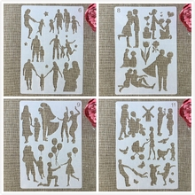 Layering Stencils Family Embossing-Album-Decorative-Template Painting Scrapbook-Coloring
