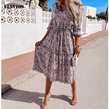 2021 Spring And Summer Women New Digital Print Small Fresh And Sweet Lace Mid-Length Dress Sexy V Neck Floral Casual Beach Dress