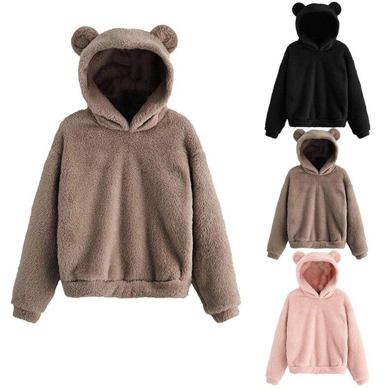 Hot Hot Sale Winter Women Cute Teddy Bear Long Sleeve Hoodies Fleece Pullover Hoodies Top Faux Shearling Shaggy Casual Hoodies