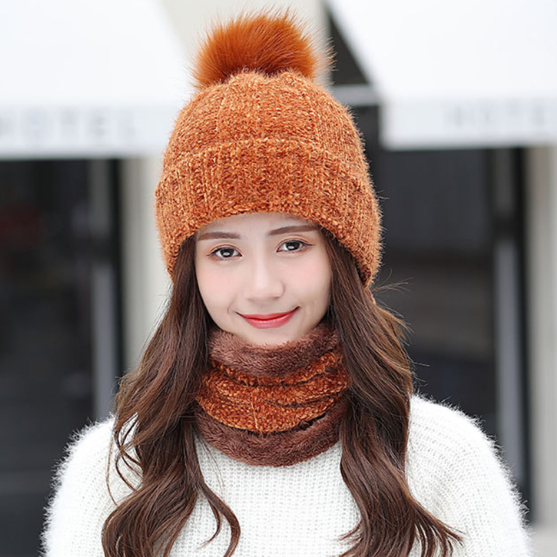 HT2676 Winter Knitted Hat Scarf Set Women Thick Warm Fur Pompoms Beanies Hat And Scarf Lady Winter Set Female Winter Accessories