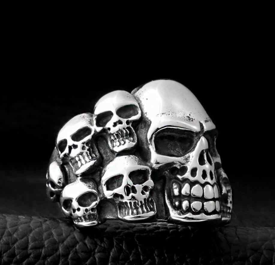 أزياء للجنسين الجمجمة الفولاذ المقاوم للصدأ حلقة الرجال خاتم الفضة قابل للتعديل الشرير الصخرة الهيكل العظمي الدائري