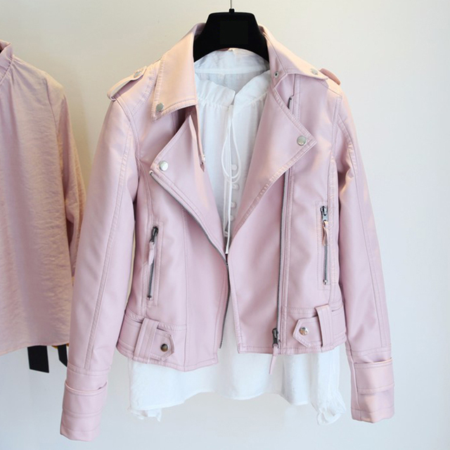 Female 2020 New Design Spring Autumn PU Leather Jacket Faux Soft Leather Coat Slim Black Rivet Zipper Motorcycle Pink Jackets