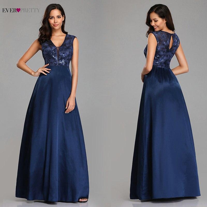 Evening Dress Long Women's Elegant A Line V Neck Appliques Satin Party Gowns Ever Pretty Vestidos Largos De Fiesta Elegante
