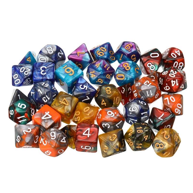5 Colors Game Dice D&D Colorful Multicolor Dice Mixed D4 D6 D8 D10 D12 D20 DND Dice With 7 Pcs/set