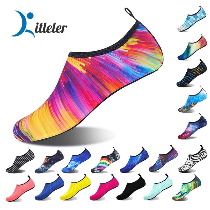 Summer Aqua Shoes Unisex Non-slip Lightweight Beach Shoes for Women Quick Dry Water Shoes Men Socks Seaside Sneaker Plus Size