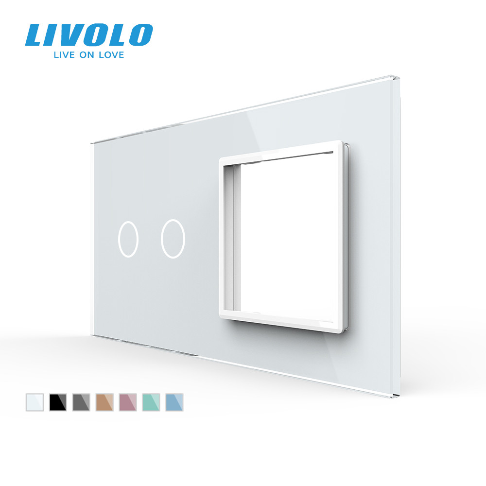 Livolo Luxury White Pearl Crystal Glass 151mm 80mm EU standard 2Gang  amp 1 Frame Glass Panel VL-C7-C2 SR-11  4 Colors