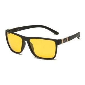 Image 3 - LongKeeper Night Vision Goggles Mens Driving Glass Polarized Sunglasses TR90 Square Anti Glare Yellow Lens Male Sport Gafas