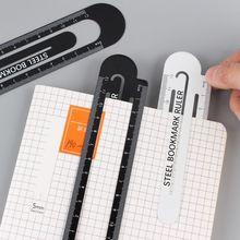 12cm Paperclip Bookmark Ruler Metal Black White Markers Drawing Ruler Measuring Ruler Scale Tool недорого