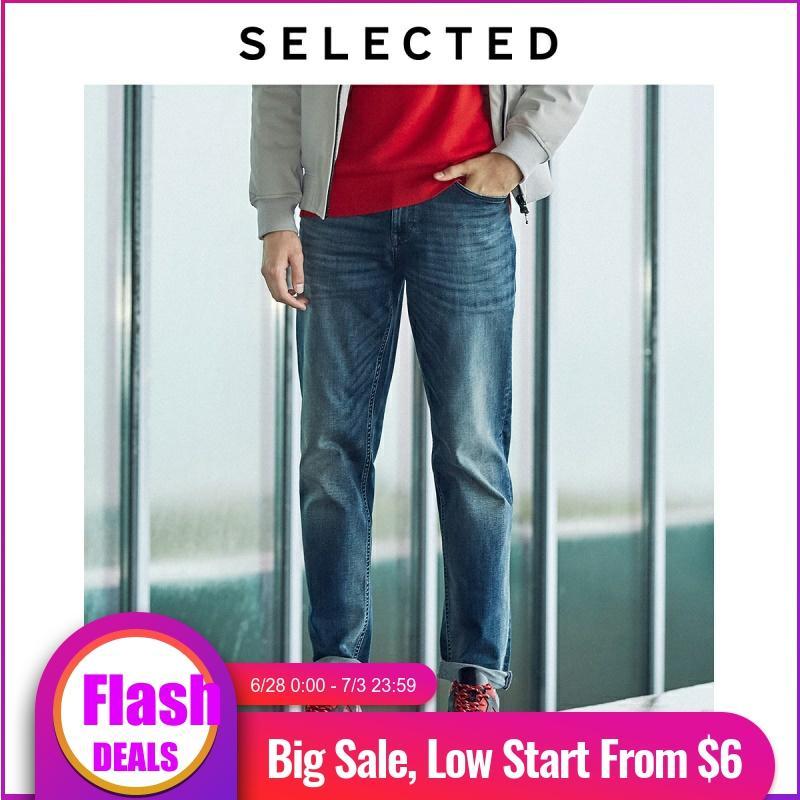 SELECTED Men's Stretch Whiskering Denim Pants Straight Slim Fit Jeans C | 419332506