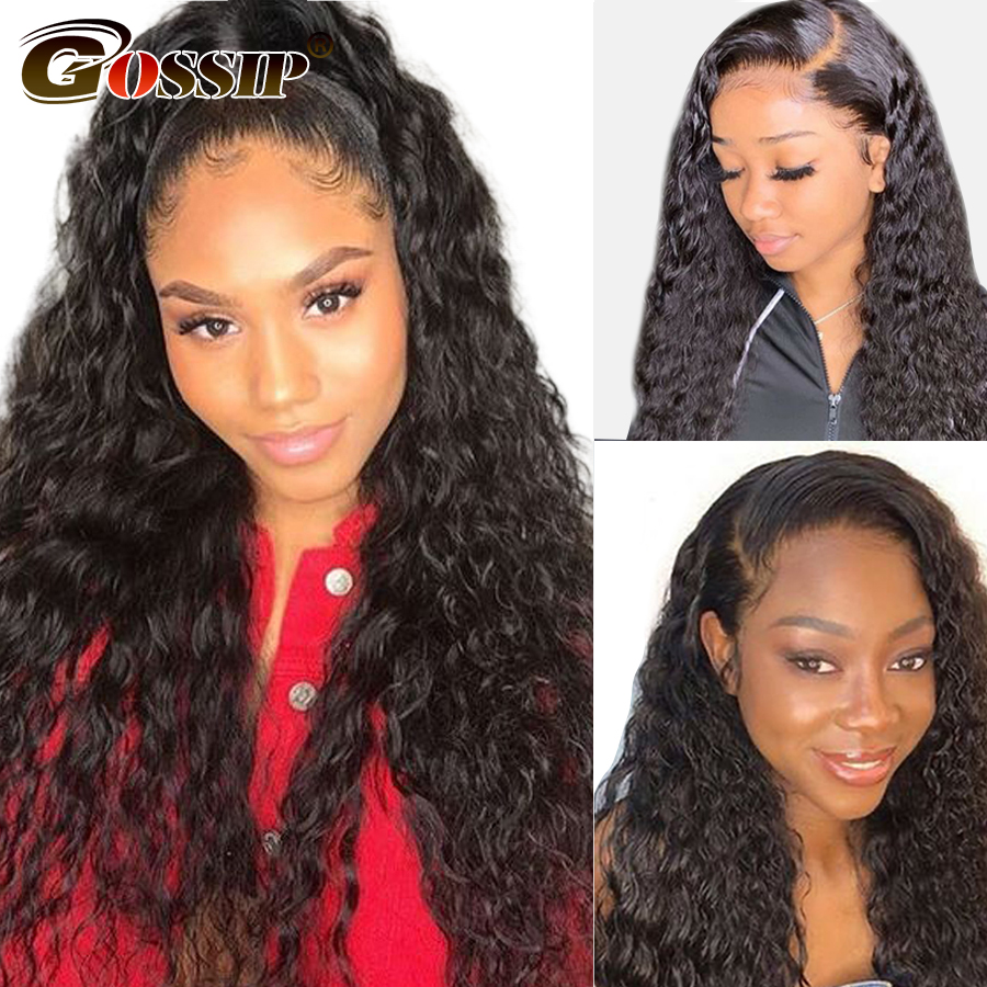 Water Wave Lace Front Human Hair Wigs Pre Plucked With Baby Hair 150% Brazilian Remy 360 Lace Frontal Wigs Gossip 8-26 Inch Wigs