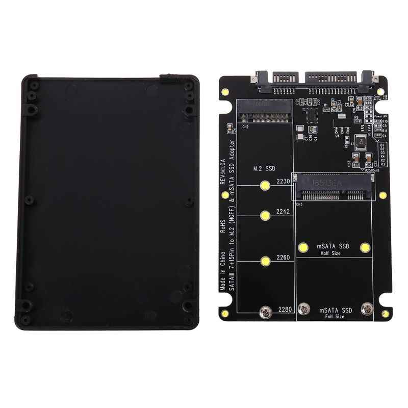 2 In 1 NGFF M.2 B+M Key Mini PCI-E or mSATA SSD to SATA III Adapter Card for Full Msata SSD/ 2230/2242/2260/22x80 M2