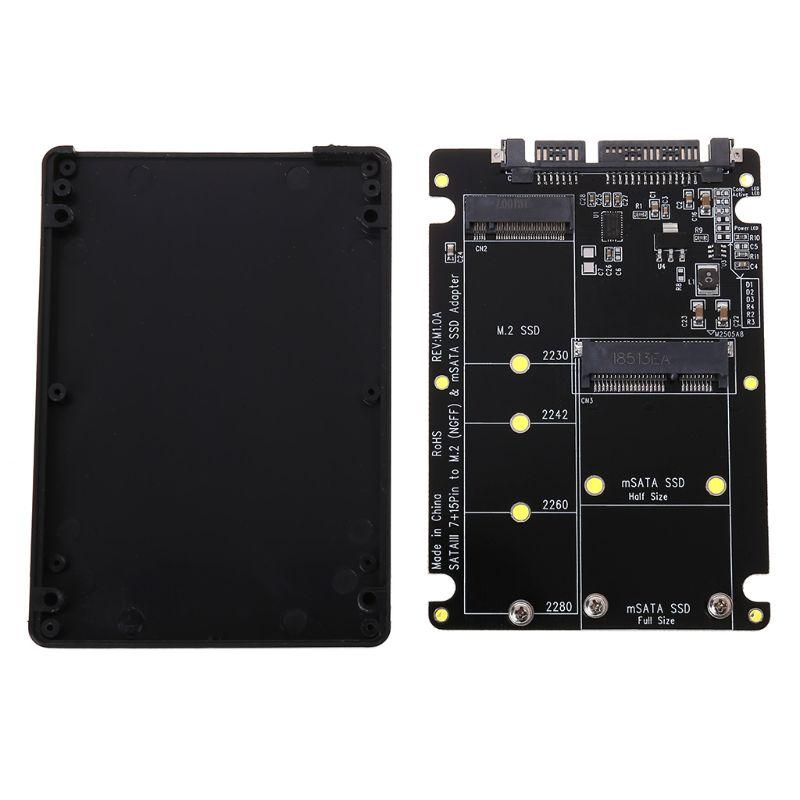 2 em 1 M.2 B + M Chave Mini PCI-E ou mSATA NGFF SSD para SATA III Adaptador de Cartão para o SSD Msata completo/2230/2242/2260/22x80 M2