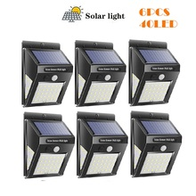 1/6pcs 30/40 LED Solar Powered Light PIR Motion Sensor Rechargeable Wall Outdoor Waterproof Garden Yard Lamps