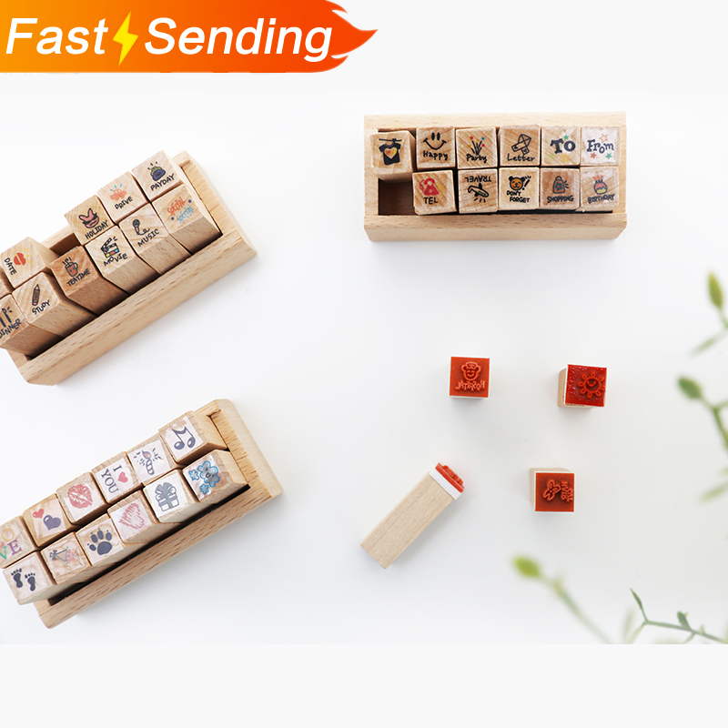 12pcs/set Wooden Seal Stamp Weather Things Animals Cute DIY Diary Card Making Mini Lovely Stamps School Supplies