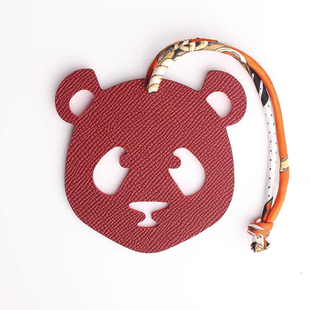Luxe Beroemde Merk Zijde Riem Echt Lederen Panda Sleutelhanger Hanger Animal Sleutelhanger Vrouwen Rugzak Tas Charm