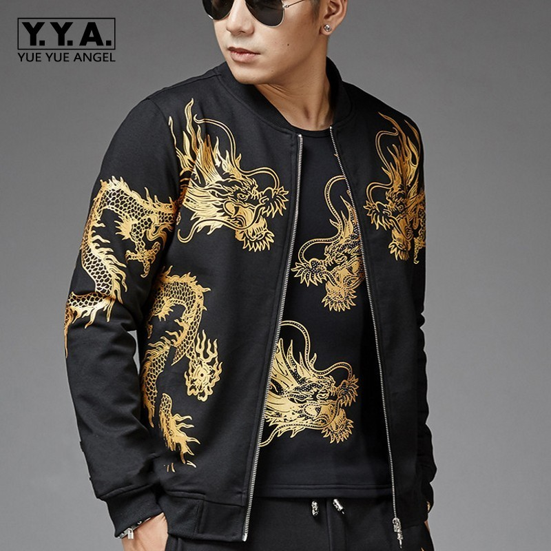 Winter Mens Plus Size Casual Sport Printed 3Pcs Sets Fashion Long Sleeve Zip O-Neck Jackets Drawstring Waist Full Length Pants