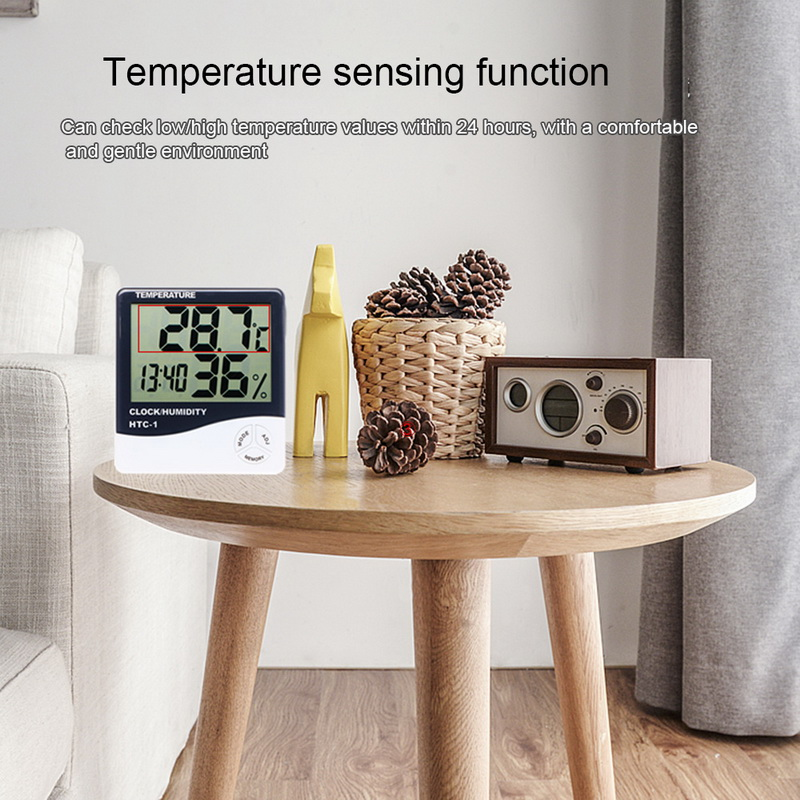 Junejour New LCD Digital Temperature Humidity Meter Home Indoor Outdoor hygrometer thermometer Weather Station with Clock 1PC Pakistan