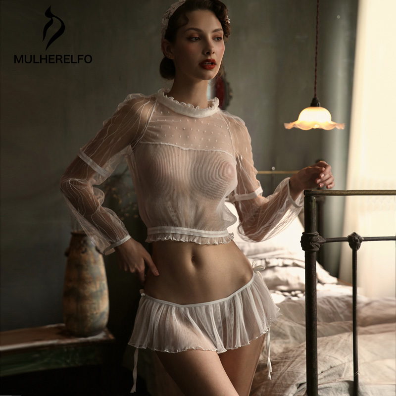 Sexy Pajamas Women Summer Transparent Lace Net Long Sleeve Ruffles Seduction Set Night Pajamas Woman Underwear Seksi Gecelik