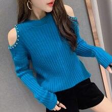 #6204 fioletowy zielony niebieski czarny pomarańczowy sweter na jedno ramię kobiety swetry Sexy O Neck sweter z dzianiny ciepły Slim frezowanie moda