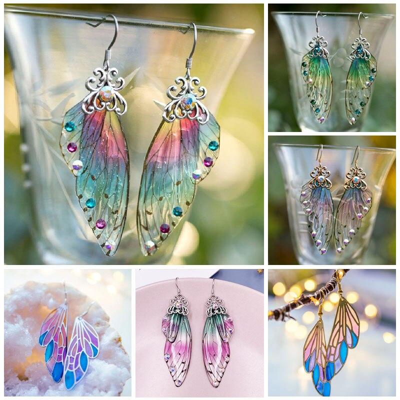 Fantasie Neon Farbe Strass Zikade Flügel Ohrringe Trendy Neue Schmetterling Gradienten Rosa Blau Pailletten Lange Tropfen Ohrringe