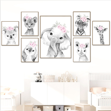 Koala Rabbit Tiger Lion Giraffe Pink Flower Wall Art Canvas Painting Nordic Posters And Prints Wall Pictures For Kids Room Decor