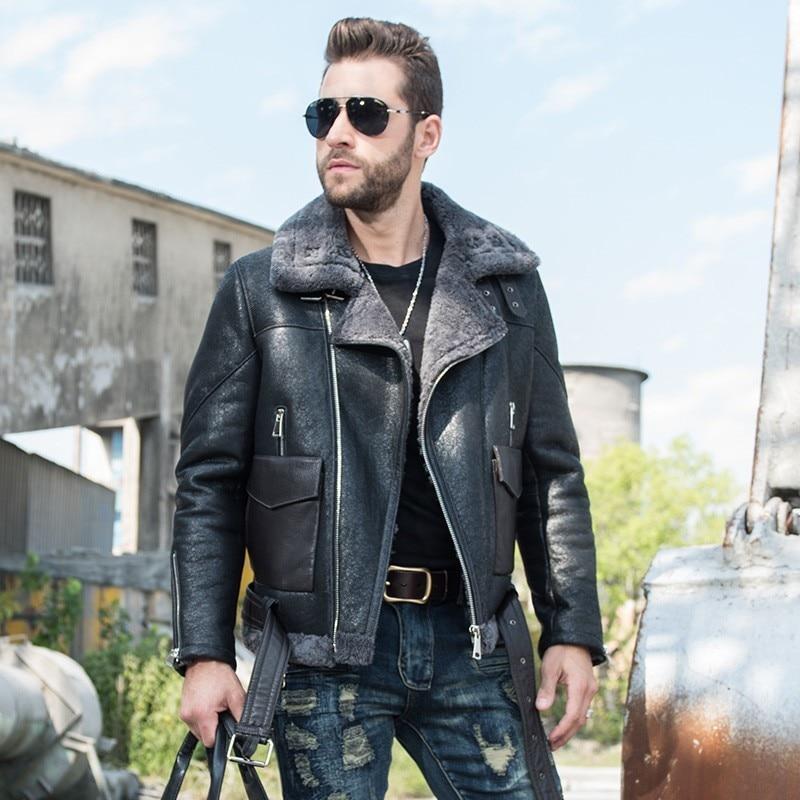 Italy Motorcycle Mens Biker Genuine Leather Real Fur Lining Warm Shearling Overcoat Aviator Jacket Slim Fit Military Coat