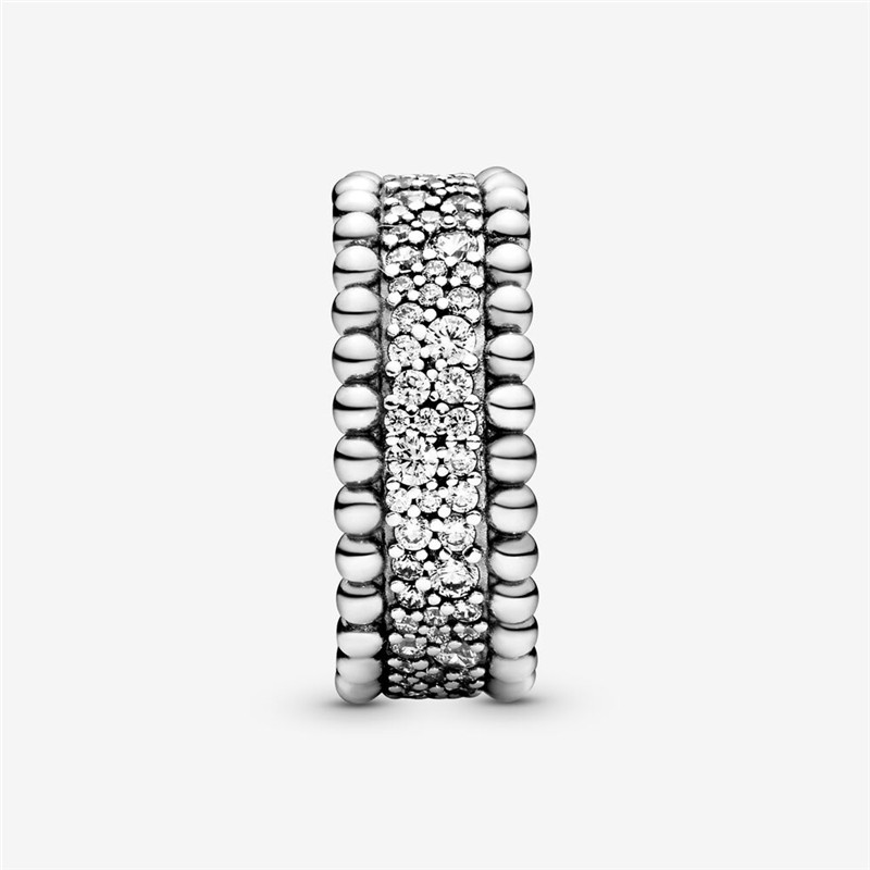 Luxury 925 Sterling Silver Beaded Pave Band Ring For Women Original 925 Silver Rings Brand Wedding Jewelry Gift
