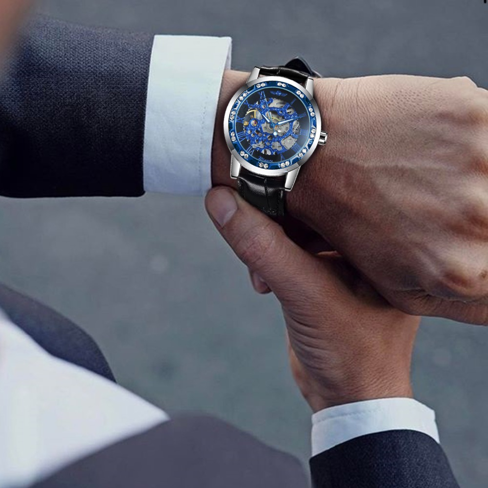 Hc18081992b914573bdd02569a3f2a0b0V WINNER Fashion Business Mechanical Mens Watches Top Brand Luxury Skeleton Dial Crystal Iced Out Wristwatch Hot Sale Clock 2019