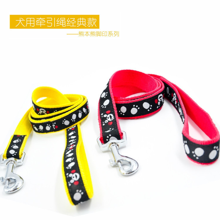 Kumamoto Bear Authorized Footprints Series Dog Traction Belt Nylon Material Solid Wear-Resistant Pet Supplies