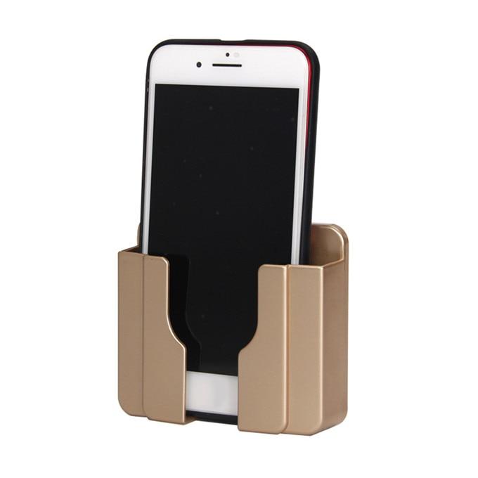 Украшение дома настенный держатель для телефона во время зарядки розетка зарядное устройство Коробка для хранения держатель мобильного телефона универсальная подставка дисплей Поддержка - Цвет: Gold