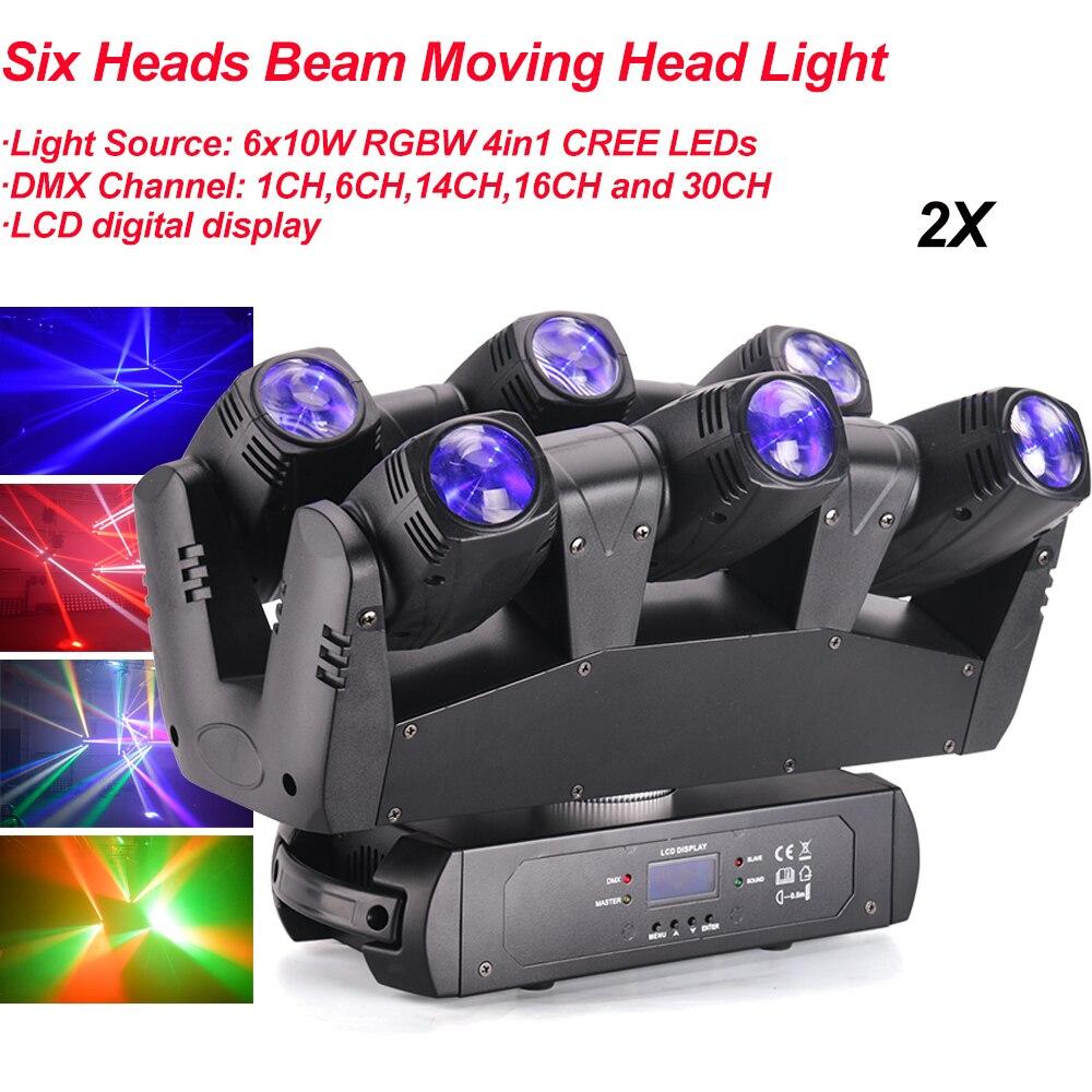 2Pcs/Lot 110W LED RGBW 4IN1 Six Heads Beam Moving Head Light DMX512 Laser Light DJ /Bar /Disco /Party /Show /Stage Effect Light
