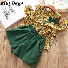 MenoeaGirls Clothing Sets 2017 Summer Style Kids Flower T-shirt+ripped Jeans 2Pcs for Baby