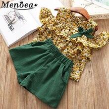 Menoea niños trajes 2019 verano estilo niñas ropa para niños Floral arco patrón Camisa + Pantalones cortos 2 uds conjunto de ropa