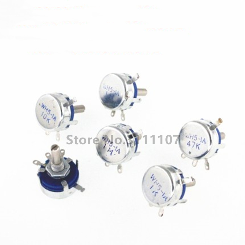 2PCS/LOT WH5-1A 470R 1K 10K 47K 4K7 100K 470K 220K 1K5 22K 1M ohm 3-Terminals Round Shaft Rotary Taper Carbon Potentiometer