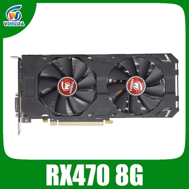 Placa de vídeo veineda rx 470 8gb 256bit gddr5 1244/7000mhz placa gráfica para amd placa gráfica compatível rx 570 8gb