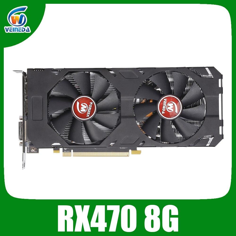 Veineda Scheda Video rx 470 8GB 256Bit GDDR5 1244/7000MHz Scheda grafica per AMD Scheda grafica non di estrazione mineraria Compatibile rx 570 8gb
