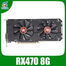 Veineda Video Karte rx 470 8GB 256Bit GDDR5 1244/7000MHz Grafikkarte für AMD Grafikkarte Kompatibel rx 570 8gb