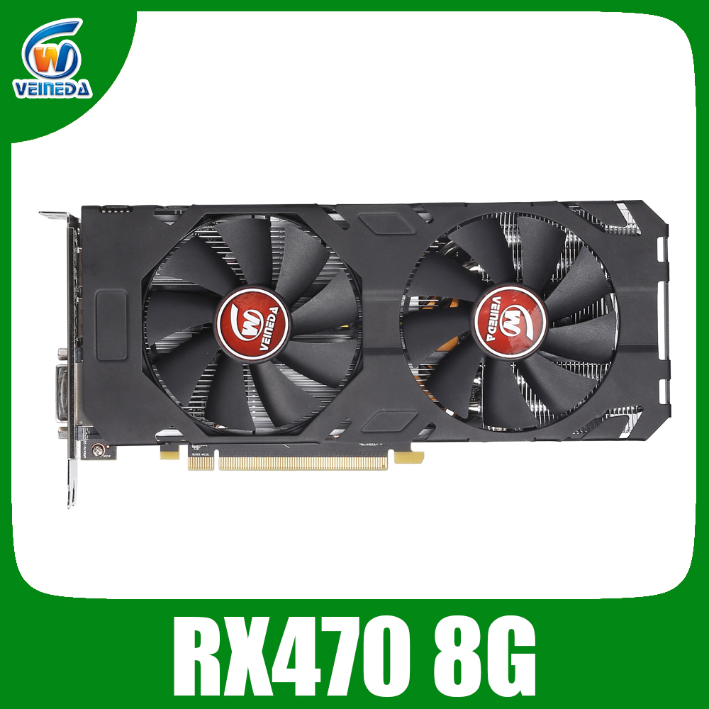 Veineda carte vidéo rx 470 8GB 256Bit GDDR5 1244/7000MHz carte graphique pour carte graphique AMD pas d'exploitation Compatible rx 570 8gb
