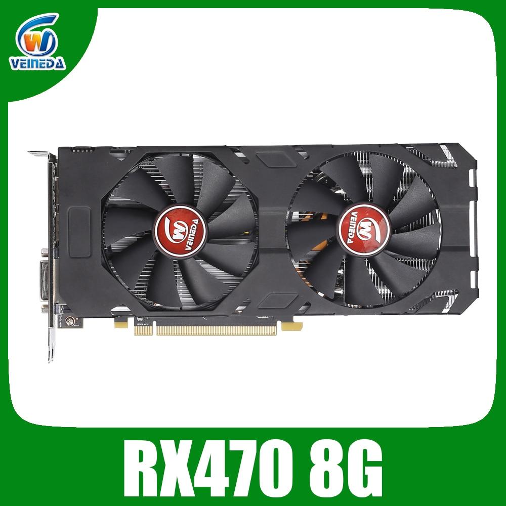 Veineda placa de vídeo rx 470 8gb 256bit gddr5 1244/7000 mhz placa gráfica para amd placa gráfica não mineração compatível rx 570 8gb