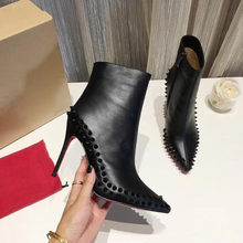 Fashion Luxury Red High Heels Spikes Boots Designer Boots Black High Heels Ankle Boots Womens Snake Skin Winter Shoes Quality(China)