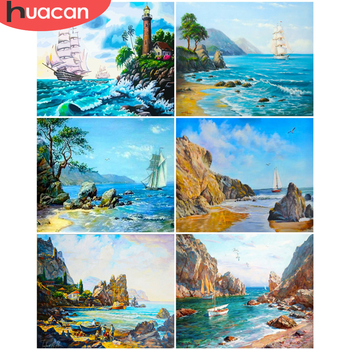 HUACAN DIY Painting By Number Sailboat Drawing On Canvas Pictures By Numbers Landscape Kits Hand Painted Paintings Home Decor