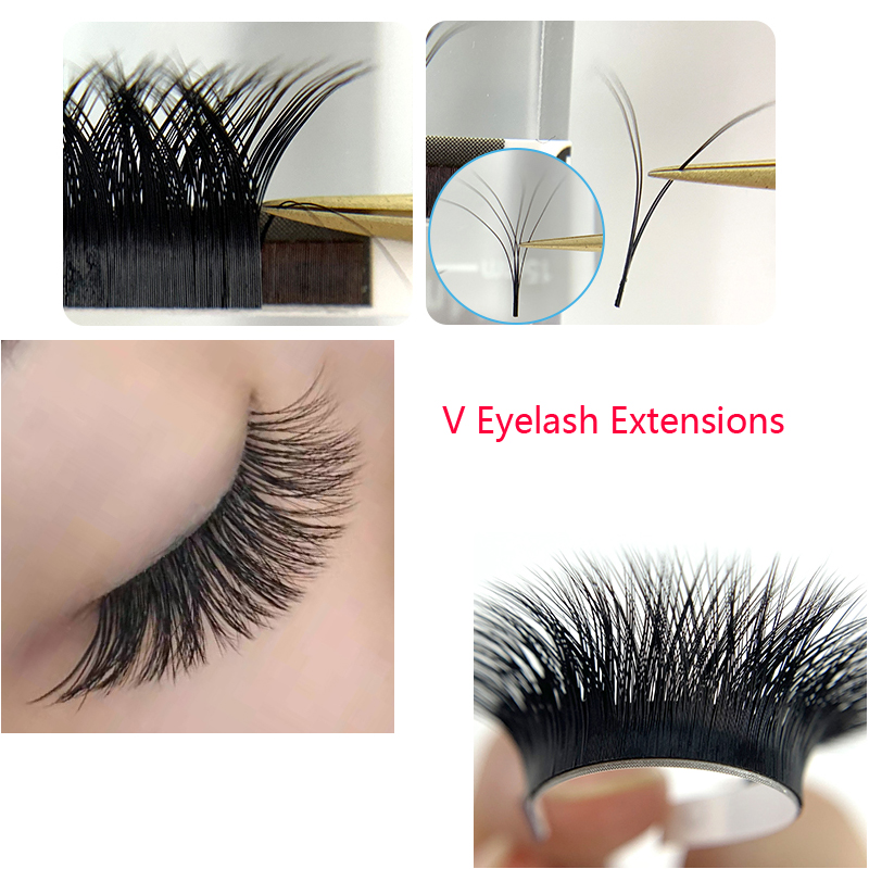 YY And V Eyelash Extensions V-shaped Volume Eyelash In One Second V Eyelash Bloom In A Second Double Tips Naturally Super Soft