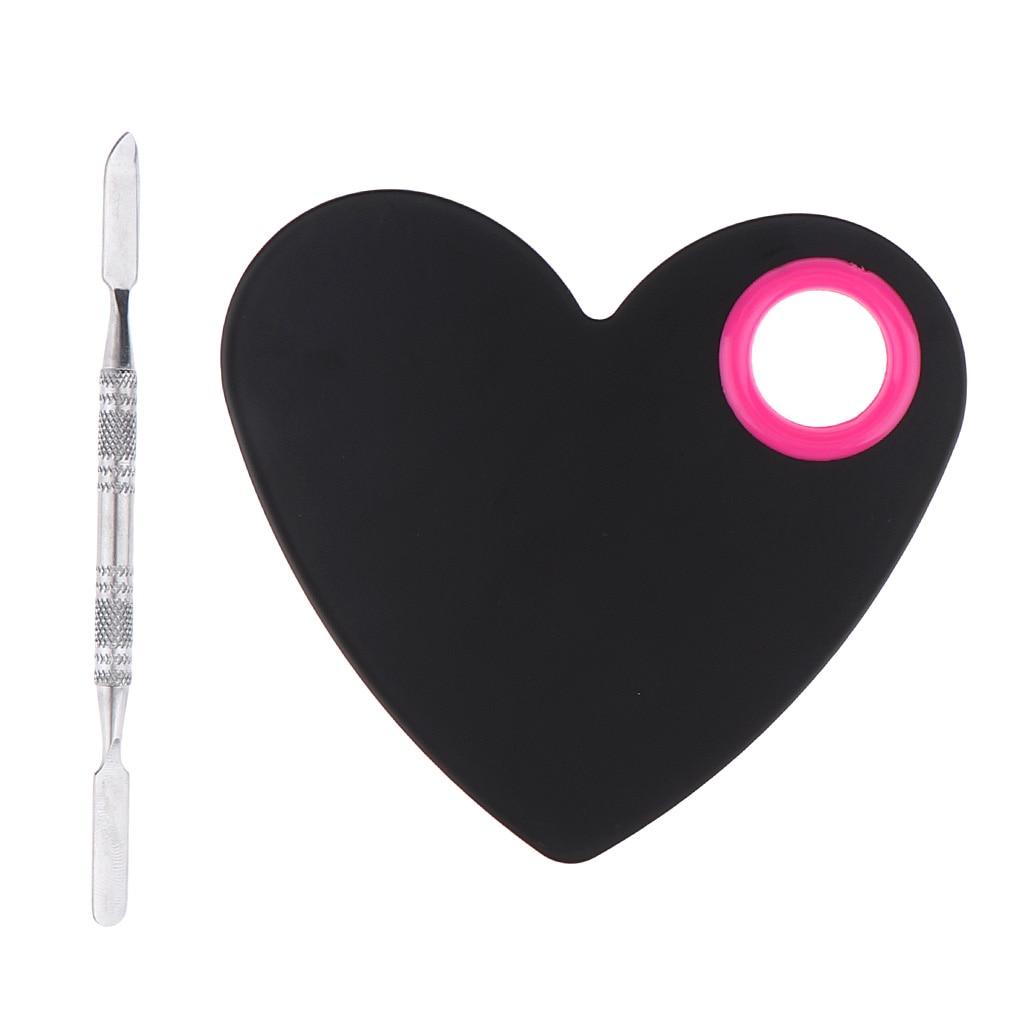 Heart Shaped Plate Makeup Mixing Palette Spatula Blending Mixing Trays Nail Stamping Plates Mixing Spatula Foundation Eyeshadow