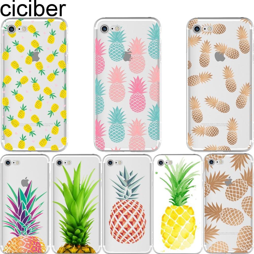 ciciber sommar frukt ananas vattenmelon silikon mjuka telefon fodral täcka för iPhone 6 6S 7 8 plus 5S SE X Coque fundas capa