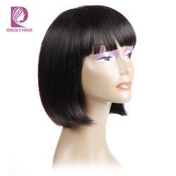 Racily волос Glueless перуанский прямо боб парик с челкой для черный Для женщин 1B Короткие человеческих волос Боб парики не Волосы remy 8-12 дюймов